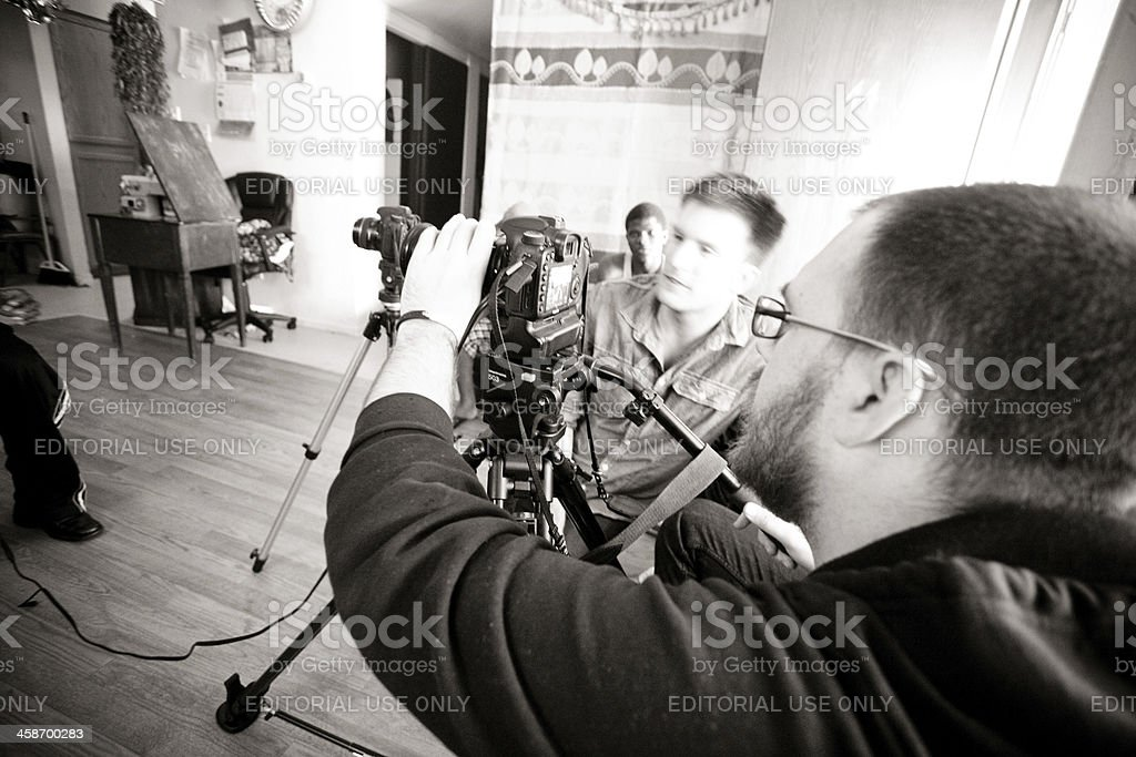 Men Filming with Canon 7D stock photo