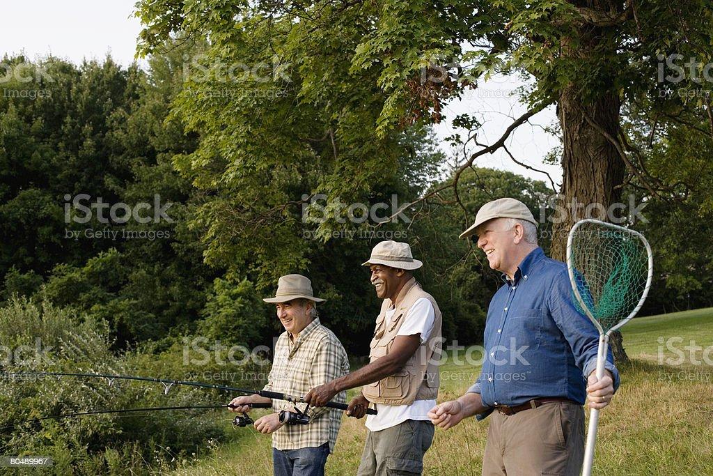 Men fishing stock photo