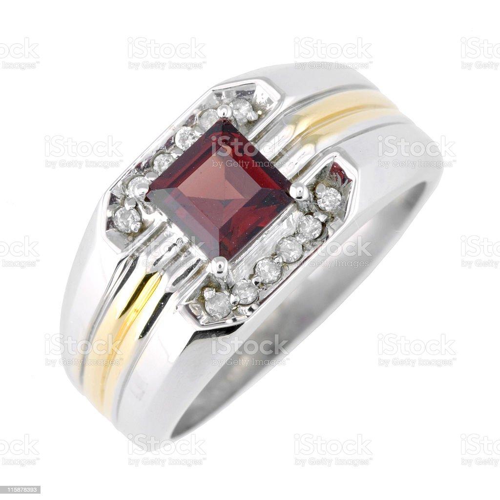 Men Garnet Diamond Ring stock photo