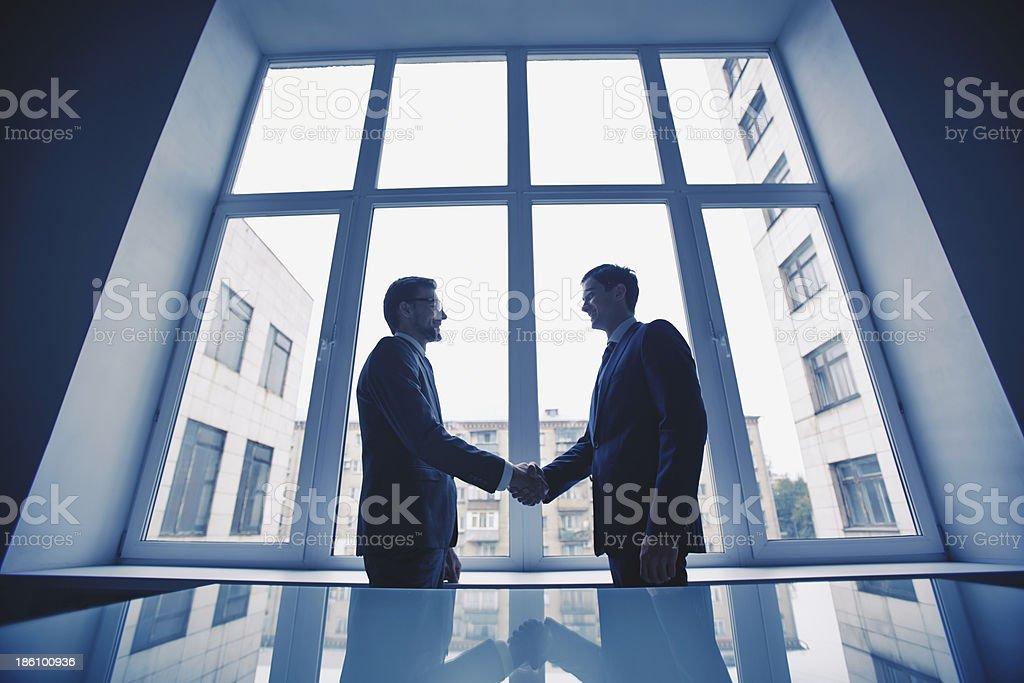 Men handshaking stock photo