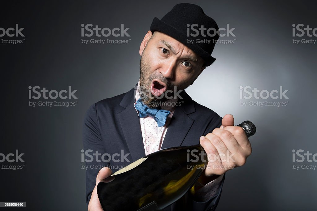 Men have the champagne while drunk stock photo