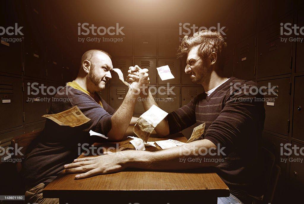 men having arm wrestling stock photo