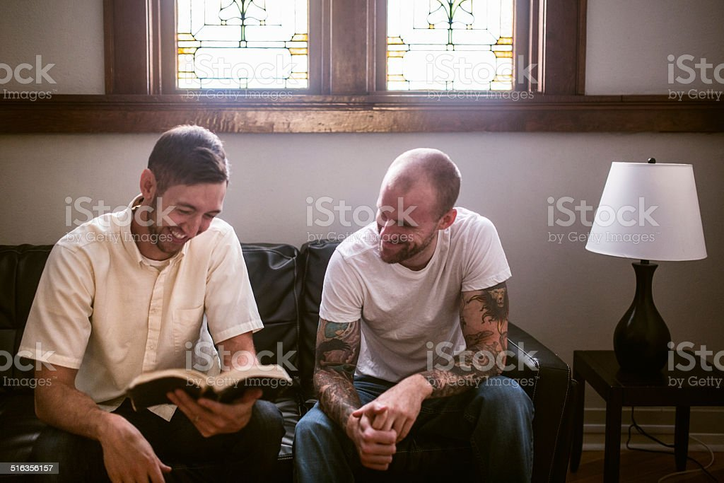 Men Having Bible Study stock photo