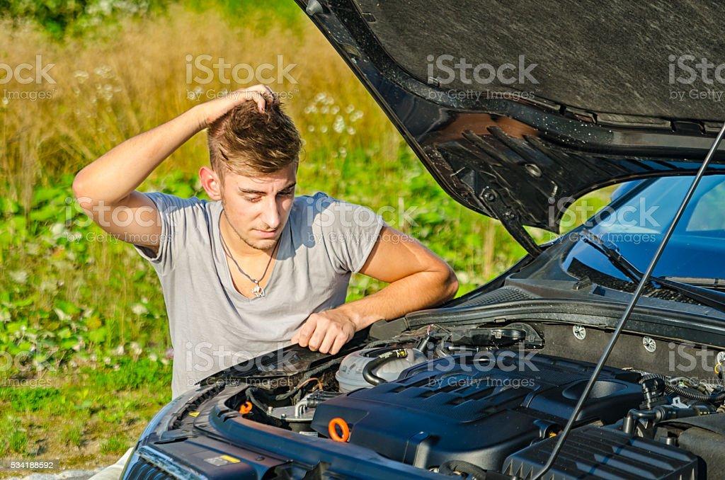 Men having problem with car stock photo