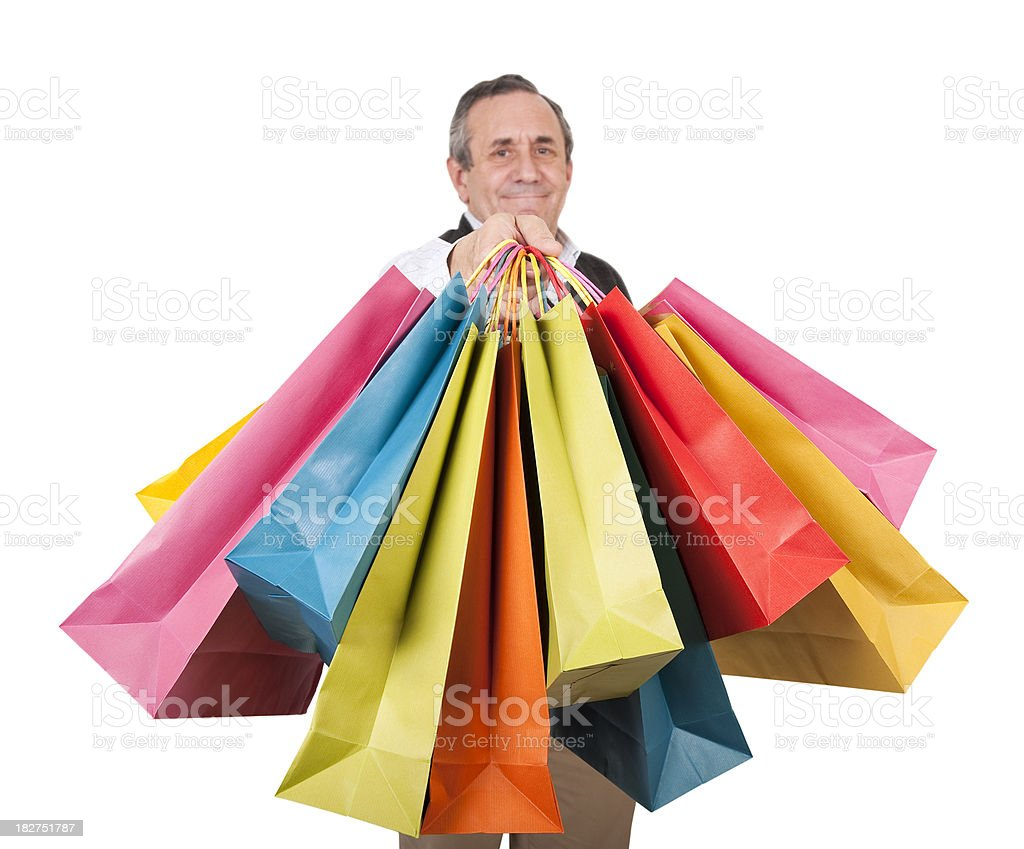 Men holdin gift bags royalty-free stock photo