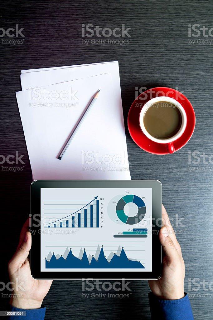 Men Holding Digital Tablet stock photo