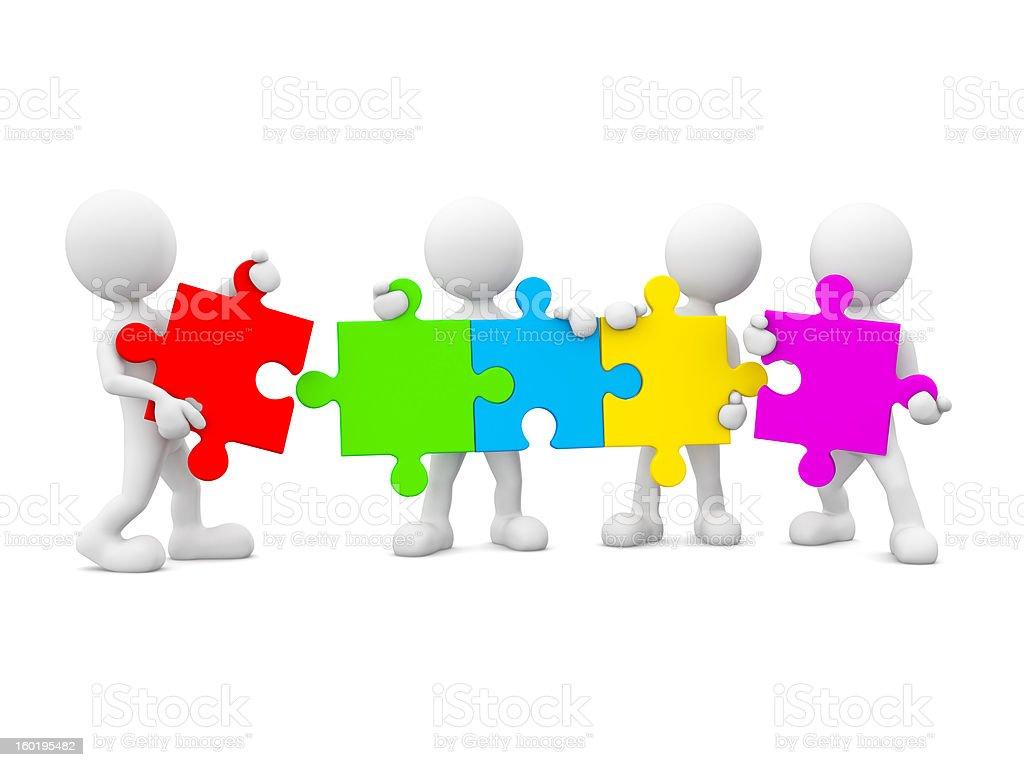 3D men holding jigsaw. stock photo