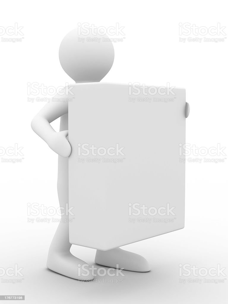 Men holds box on white background. Isolated 3D image royalty-free stock photo