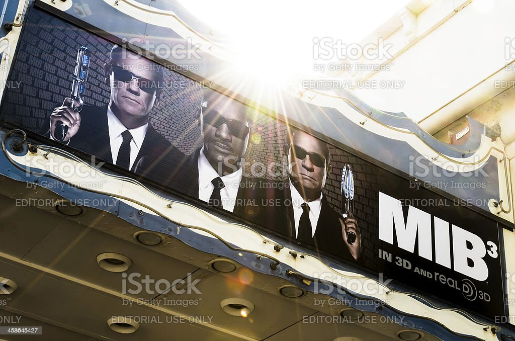 'Men in Black 3' Movie Poster on Theater Marquee stock photo
