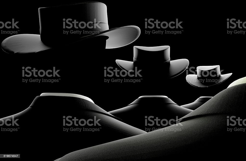 Men in Black Business Suits Fall in Line stock photo