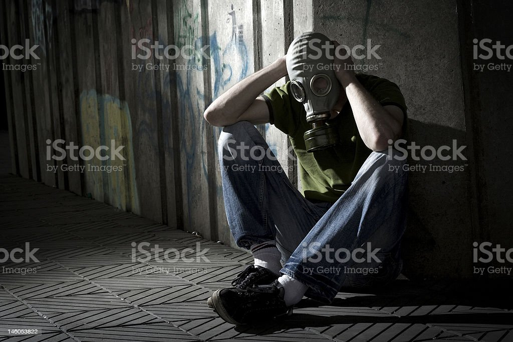 Men in gas-mask. stock photo