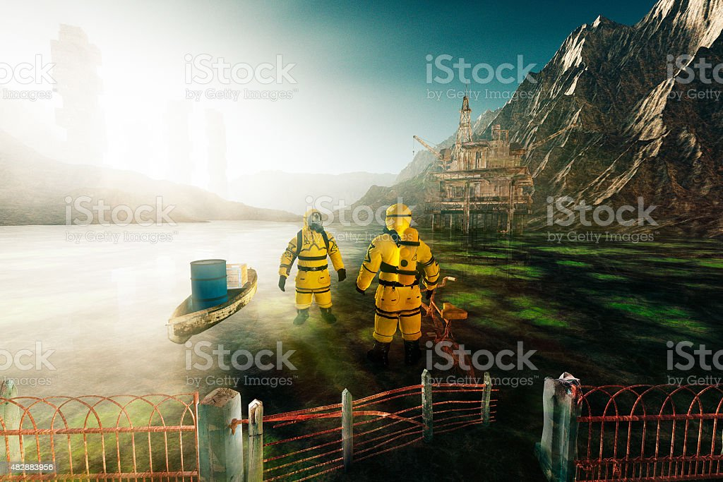 Men in hazmat suit talking at the End of world stock photo