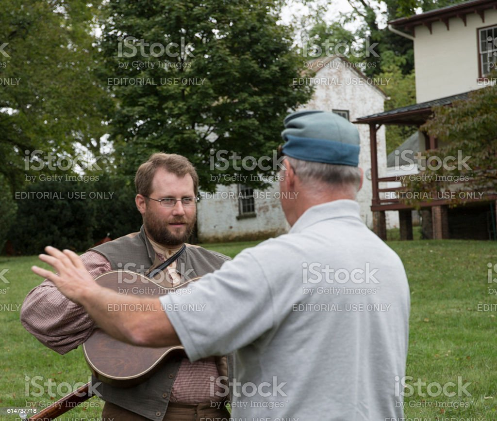 Men in historical costumes participating in the Warrenton-Fauquier Heritage Day stock photo