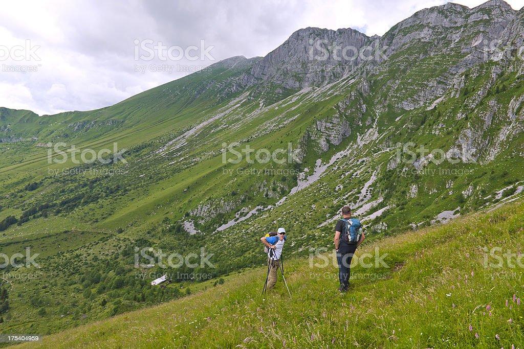 Men in Primorska Julian Alps Slovenia stock photo