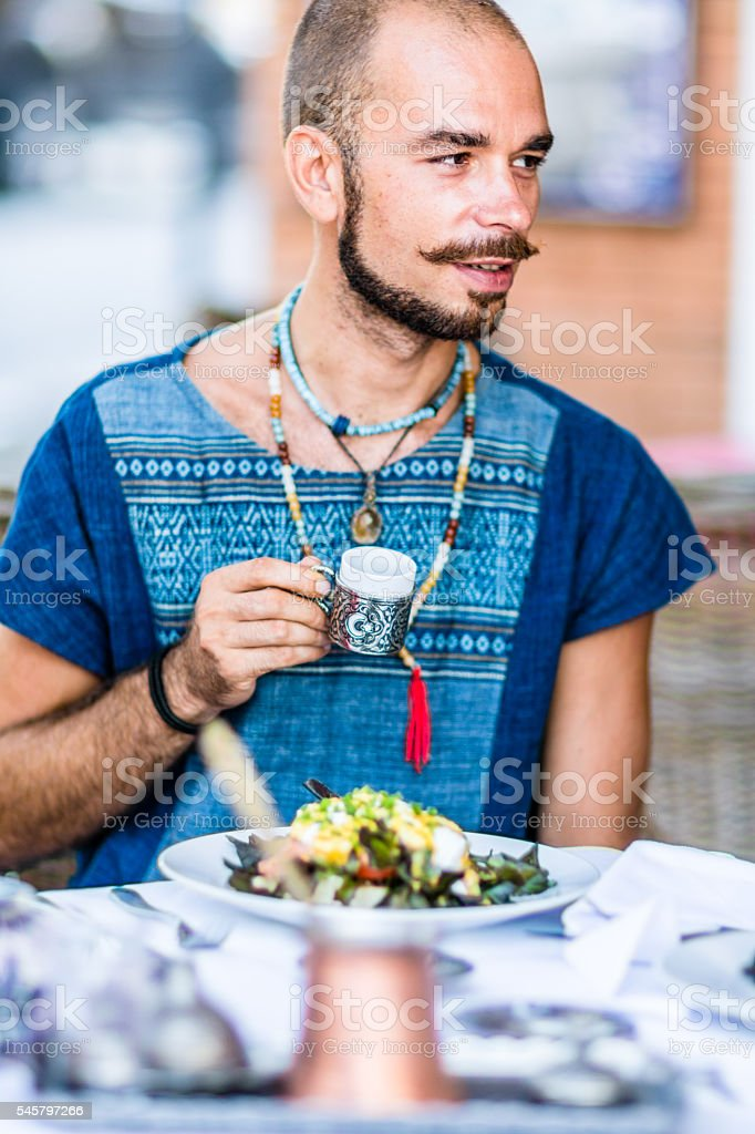 Men in the Turkish restaurant stock photo