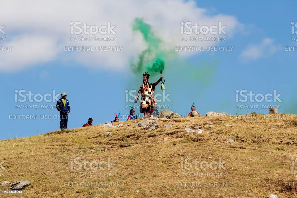 Men In Traditional Inca Costume For Inti Raymi Peru stock photo