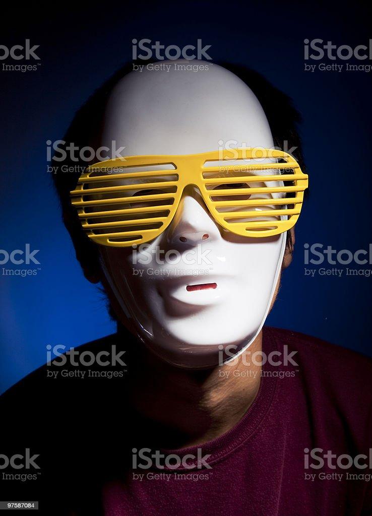 Men in white mask stock photo