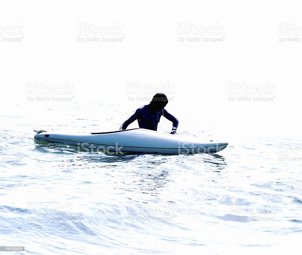 men & kayak in the water royalty-free stock photo