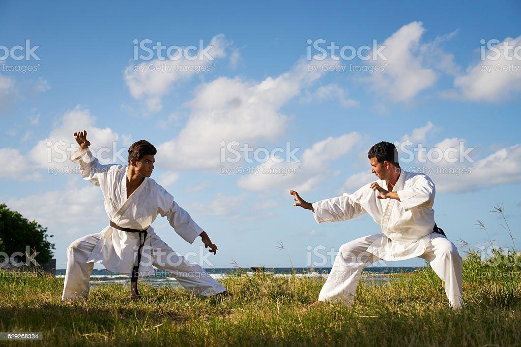 Men Kicking Punching Fighting During Combat Sport Karate Simulat stock photo