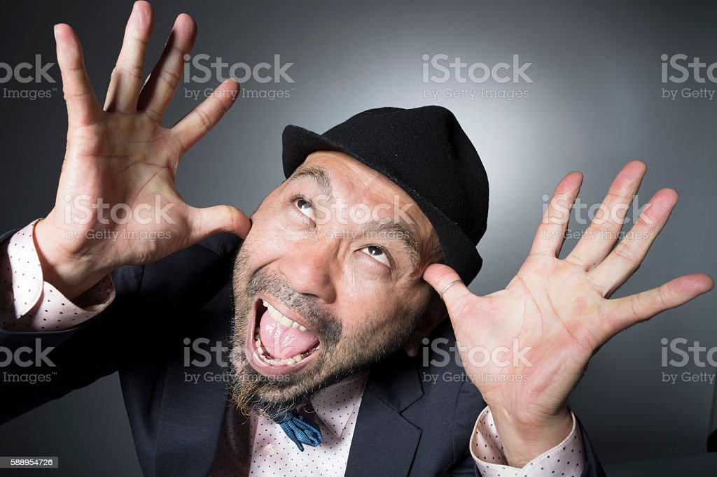Men laughing raise your hand with success in work stock photo