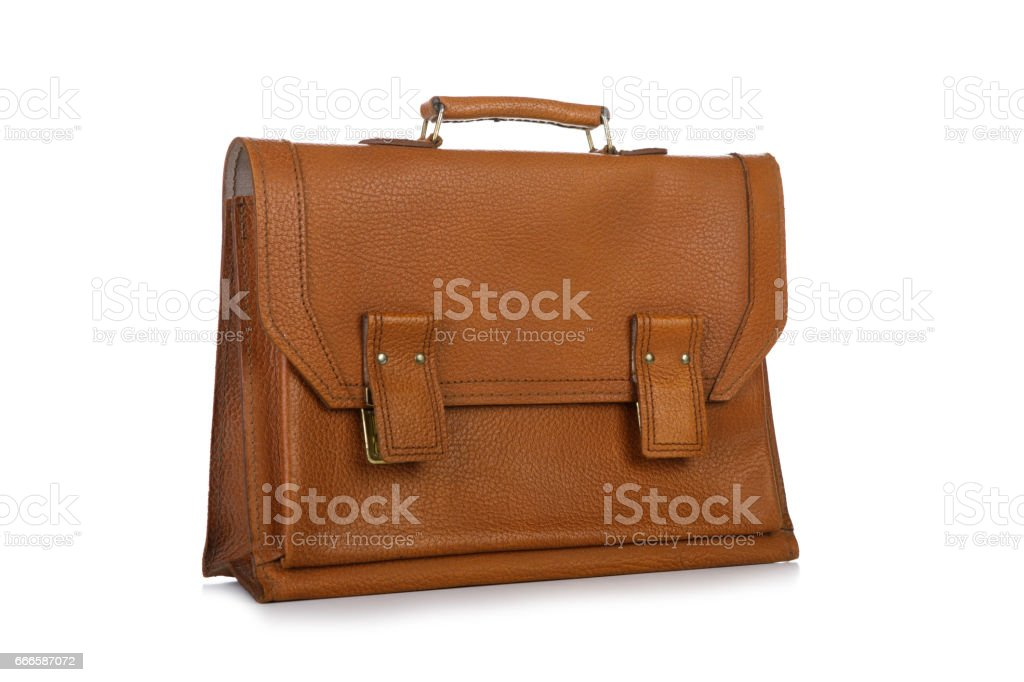 Men leather accessory bag isolated on white background stock photo
