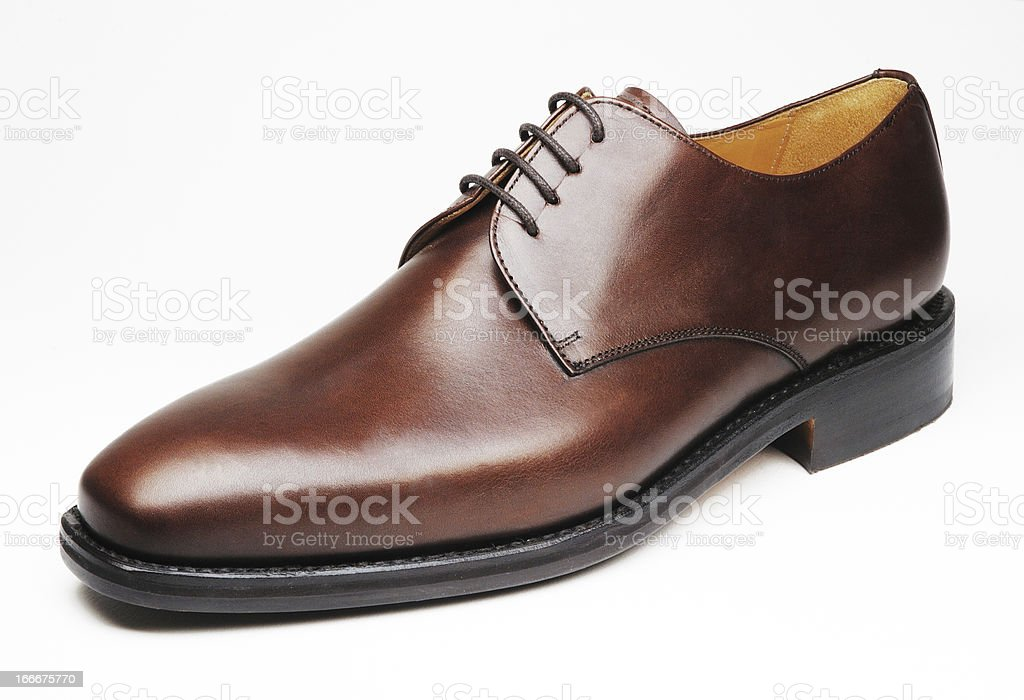 men leather brown shoe isolated in white background royalty-free stock photo