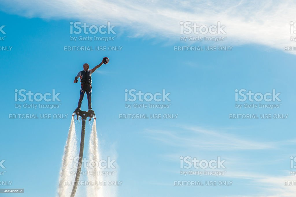 Men on a Flyboard stock photo