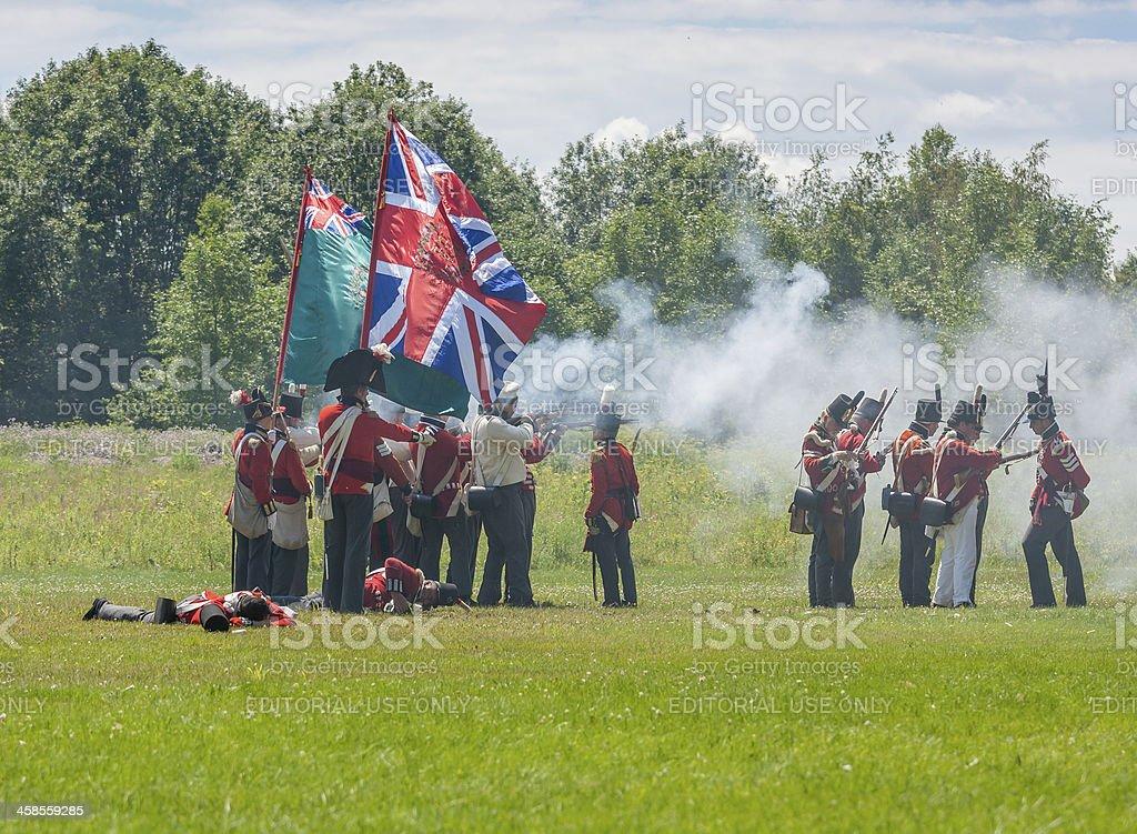 Men on Field during Battle stock photo