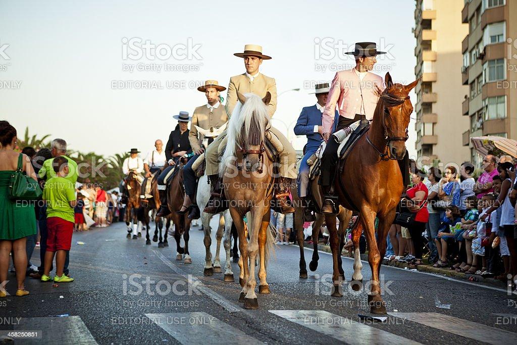 Men on Horsebac in Andalusian Spring Parade royalty-free stock photo