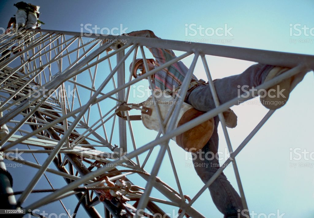 Men on tower 2 stock photo