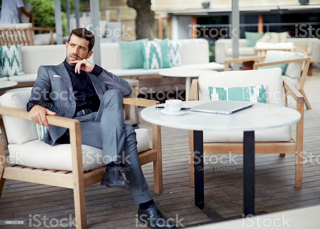 Men pensive rest and waiting someone in the coffee shop stock photo