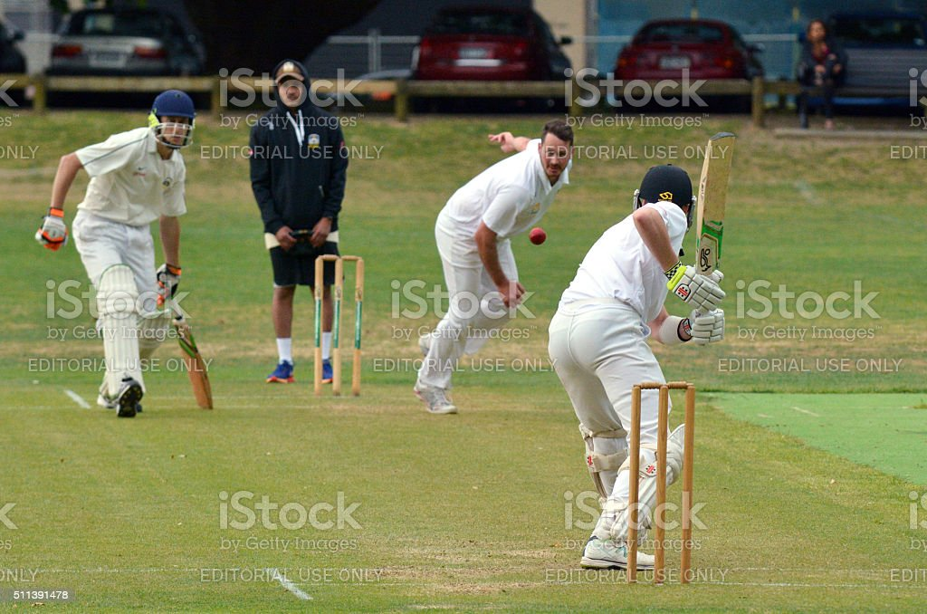Men play Cricket in Victoria park Auckland, New Zealand stock photo