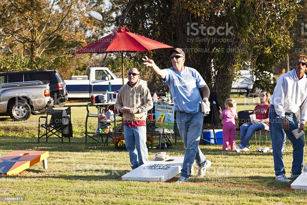 Men Playing Cornhole stock photo