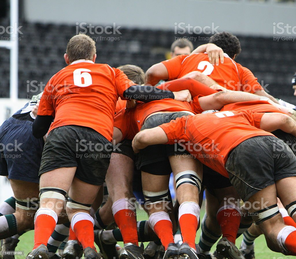 men playing the game of rugby union stock photo