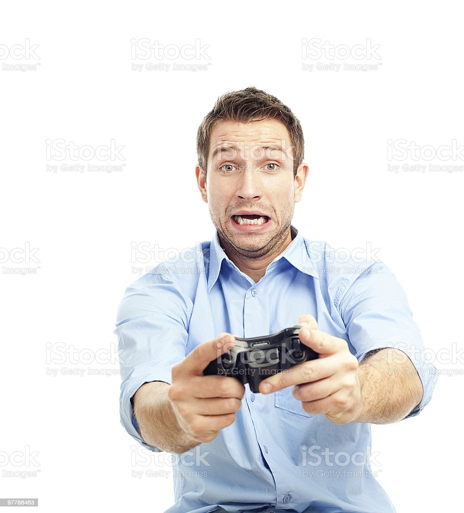 Men playing video games stock photo