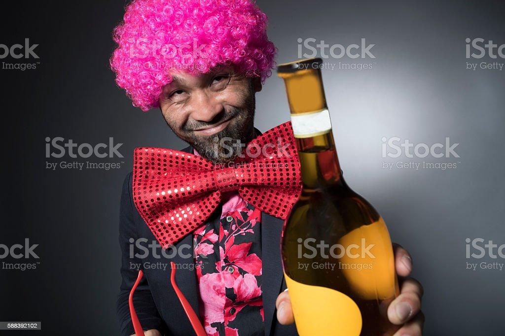 Men plotting with the white wine stock photo