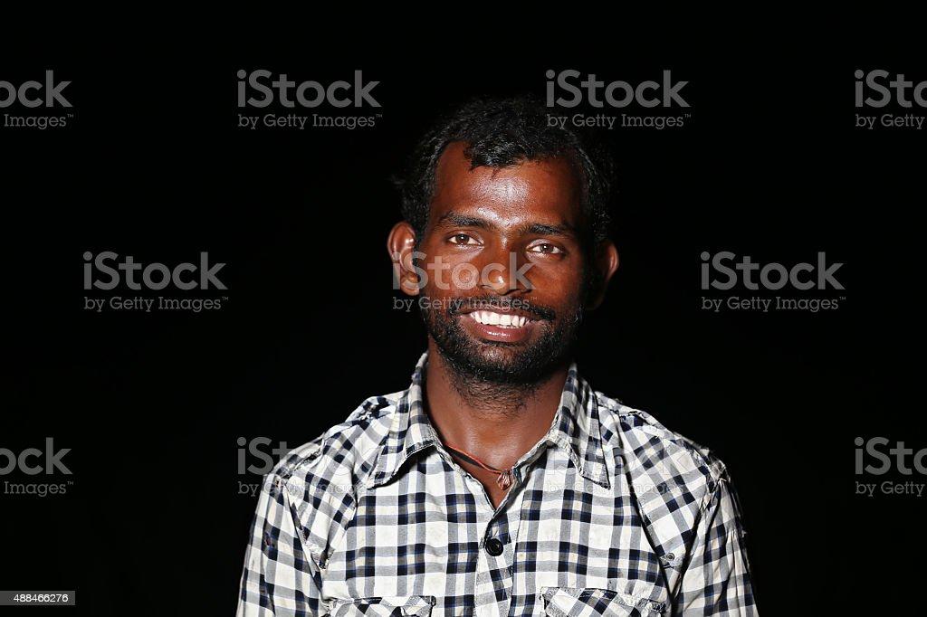 Men Portrait Isolated on Black Background stock photo