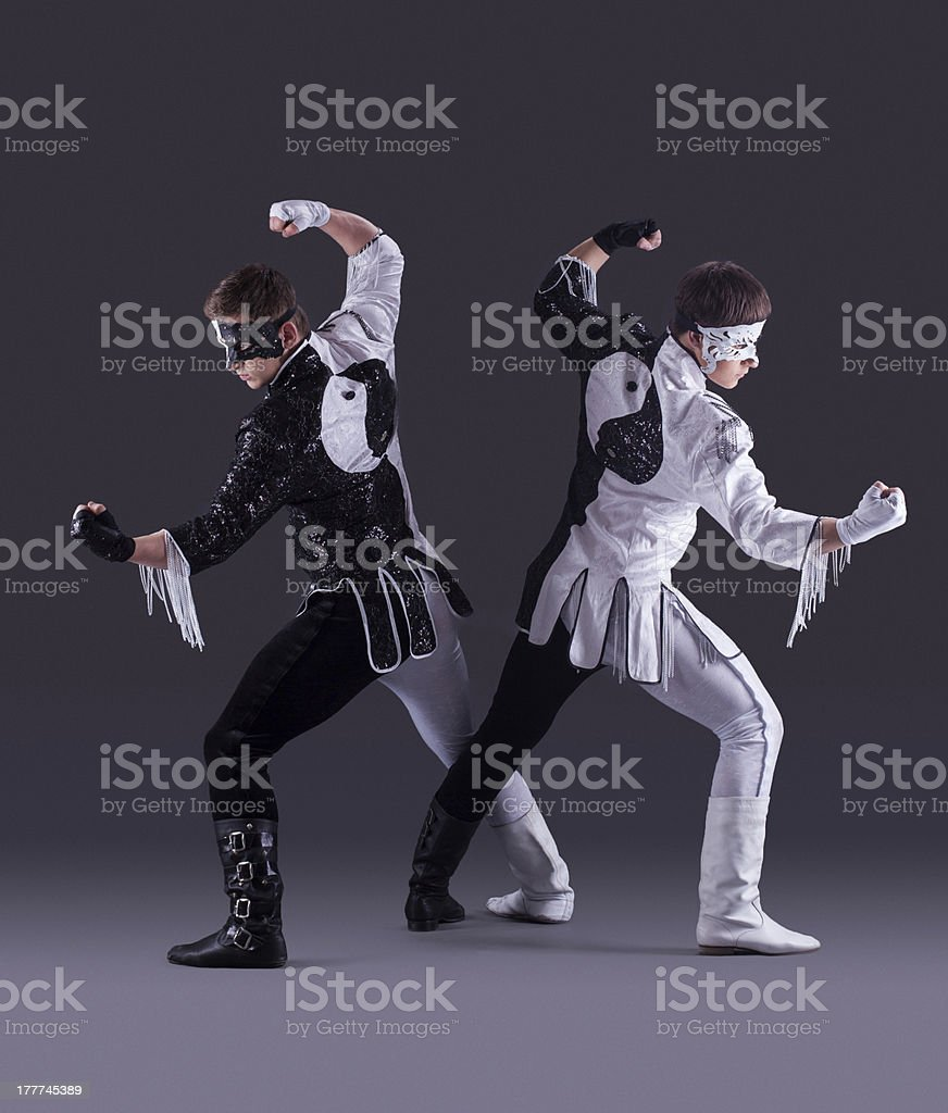 Men posing in carnival costumes royalty-free stock photo