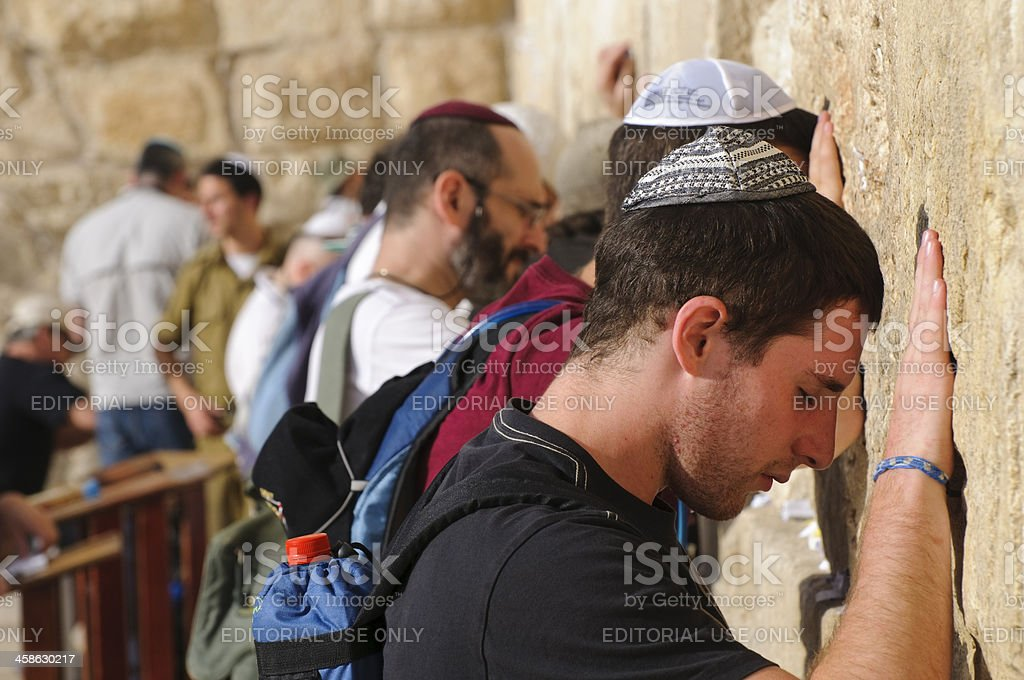Men praying at Jerusalem's Western Wall stock photo