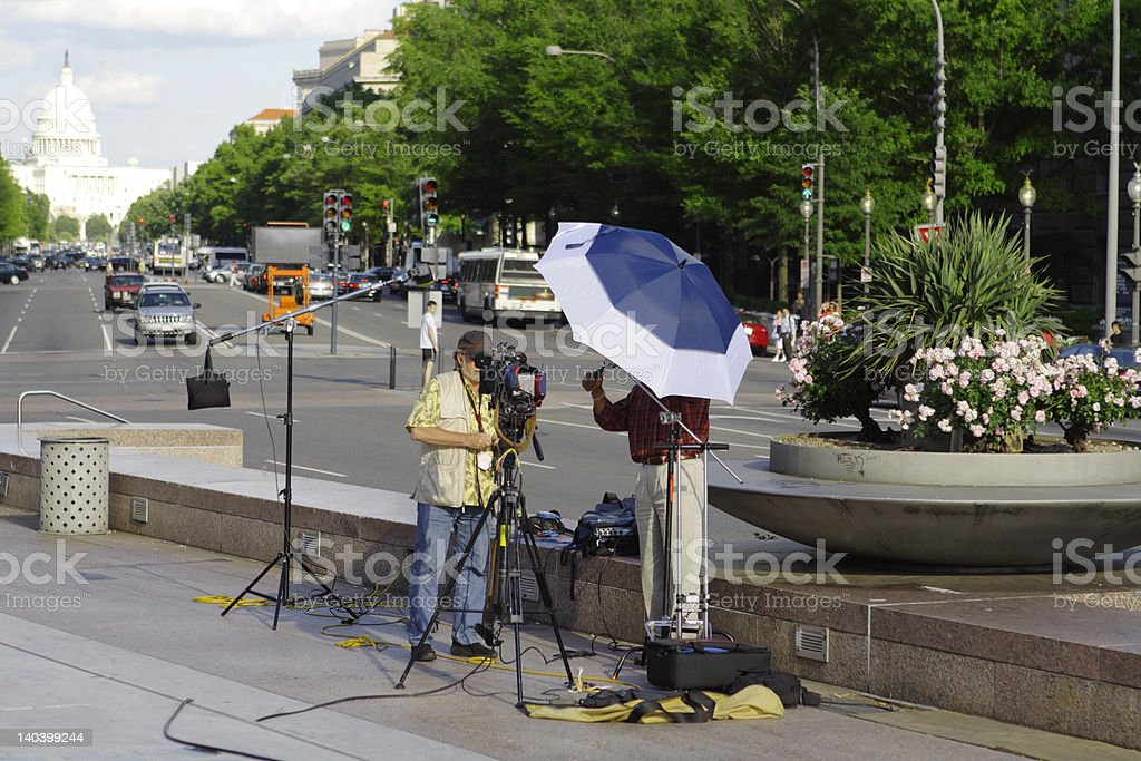 Men Preparing TV News Broadcast Pennsylvania Ave Washington DC Capitol stock photo