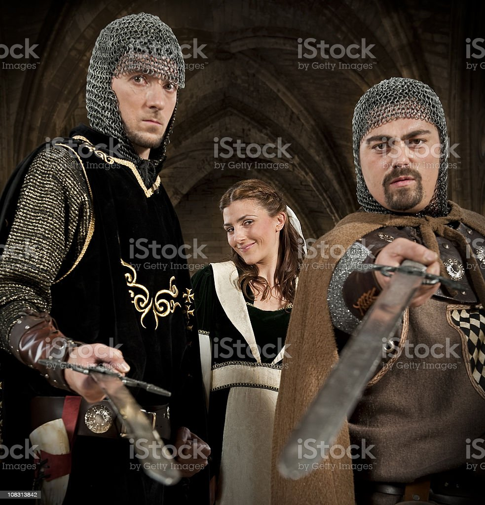 Men protecting a woman royalty-free stock photo