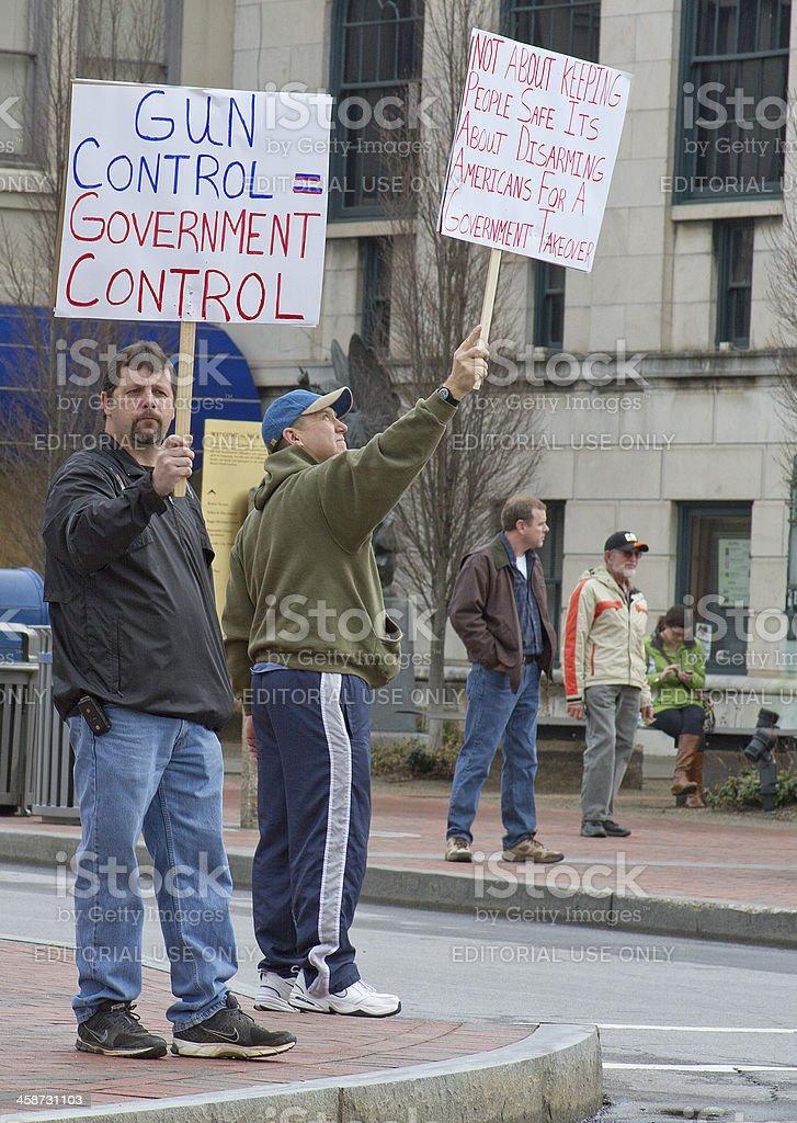 Men Protesting Gun Control at a Rally in Asheville stock photo