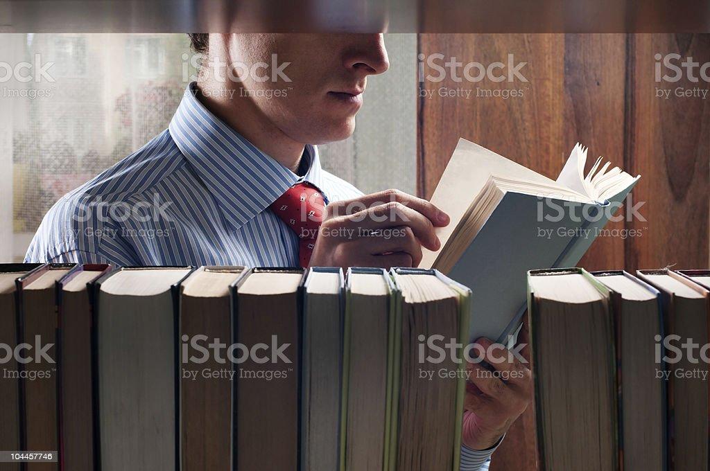men reading a book royalty-free stock photo