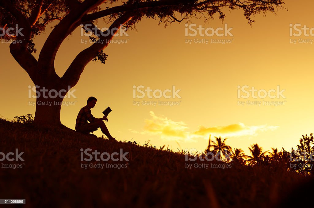 Men reading book stock photo