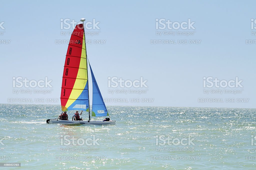 Men sailing in ocean off of Marco Island, Florida, FL stock photo