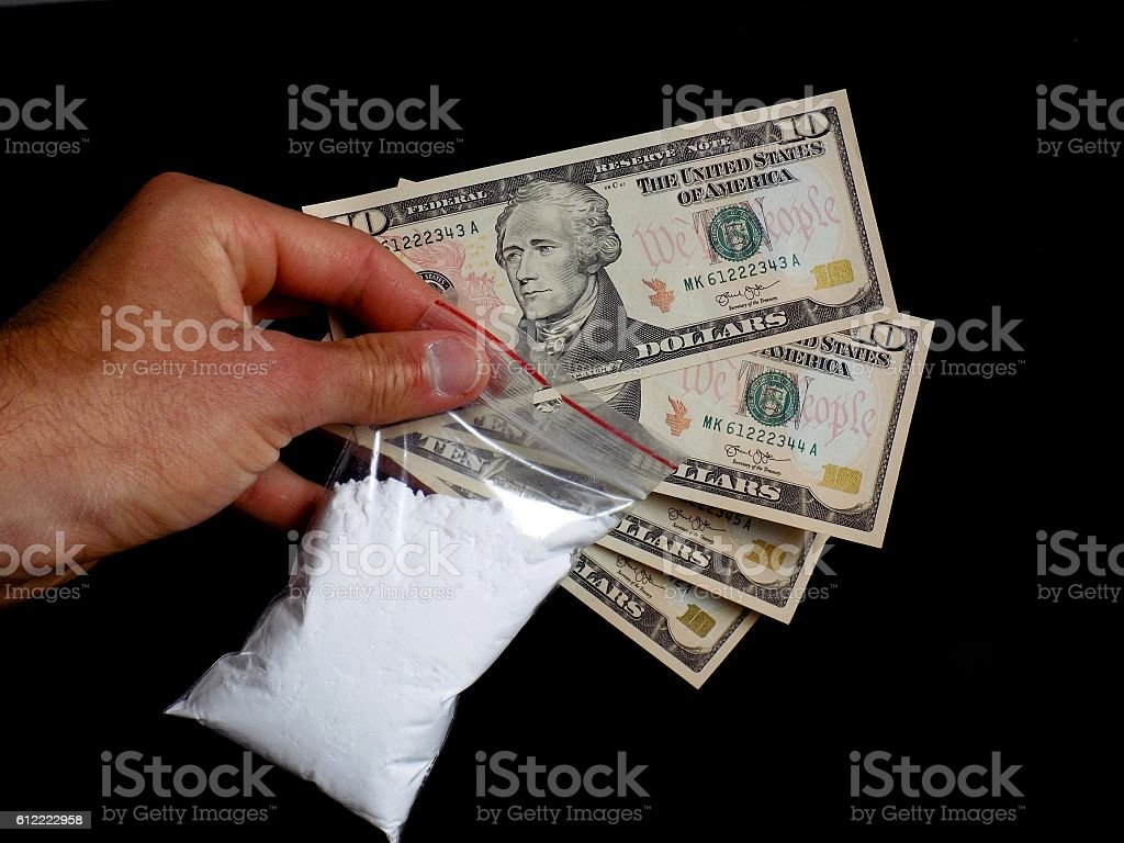 Men selling cocaine drug powder to junkie stock photo
