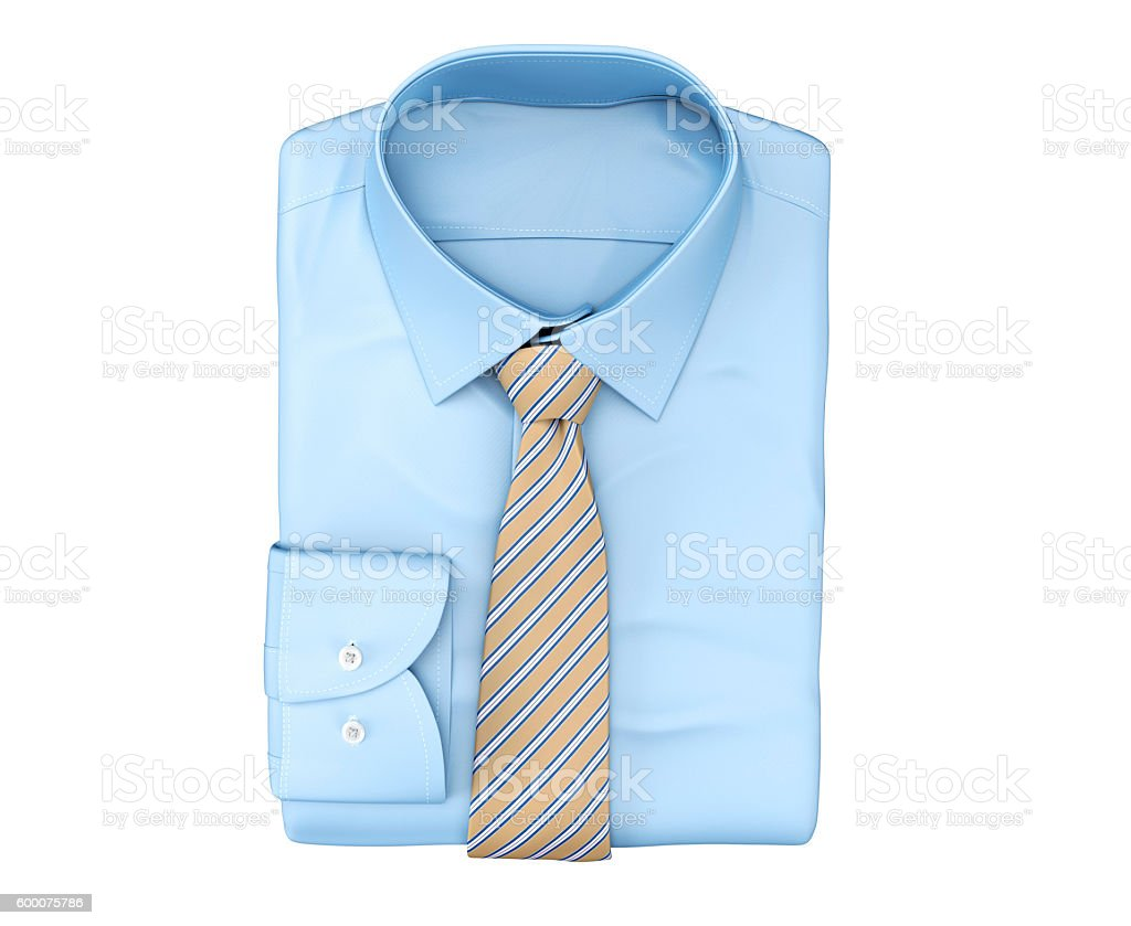 men shirt clothing with tie isolated on white stock photo