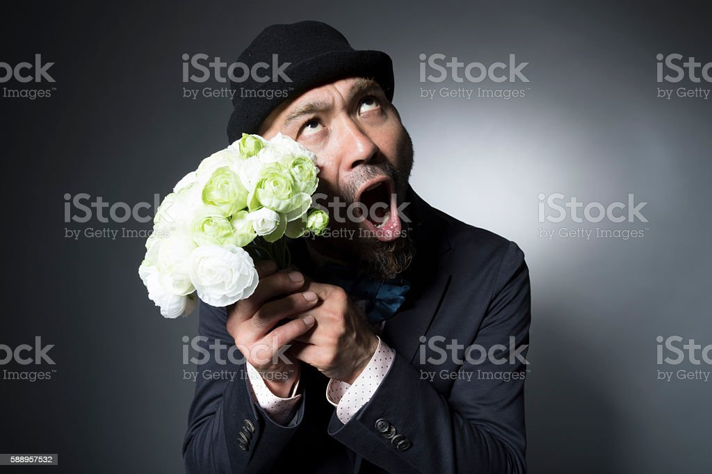 Men shouting failed to propose stock photo