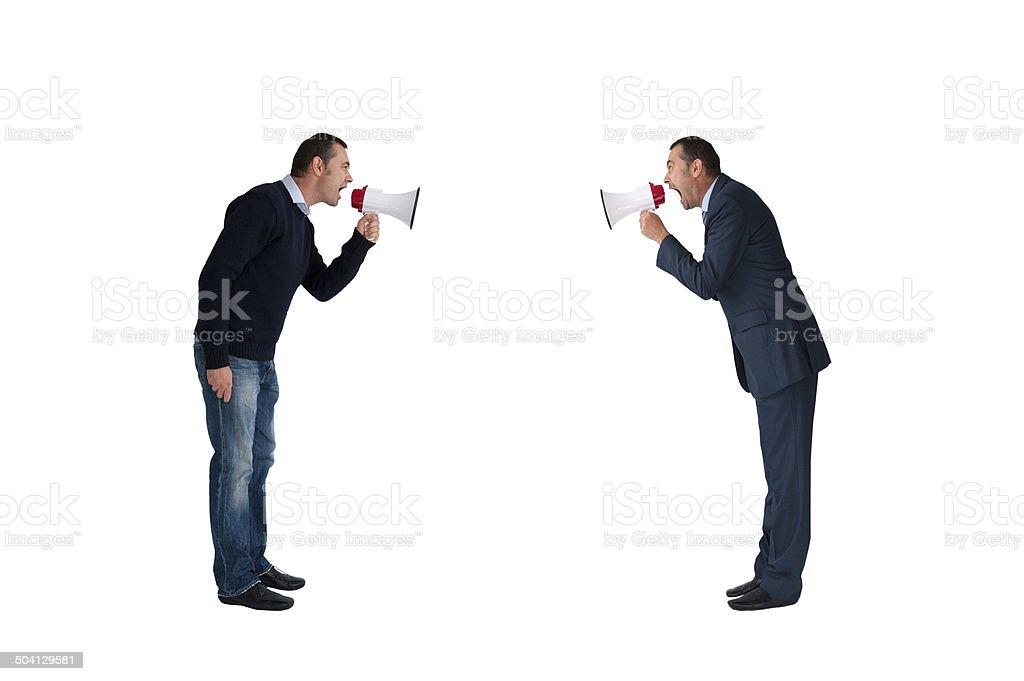 men shouting through megaphones isolated stock photo