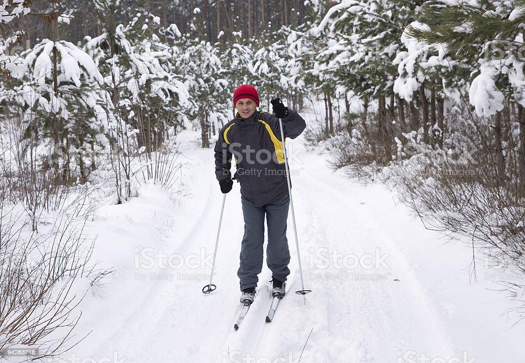 Men skiing stock photo